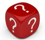 A single die with a question mark on all faces